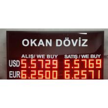 40x75 CM LED DÖVİZ FİYAT KUR PANOSU